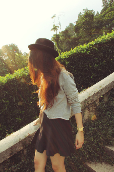 Zara skirt - Forever21 hat - Zara sweater - casio watch