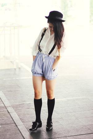 Forever21 hat - asos shoes - Pull & Bear shirt - Ganni shorts