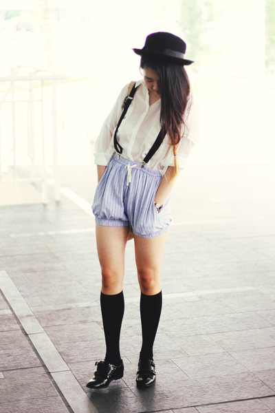 Ganni shorts - asos shoes - Forever21 hat - Pull & Bear shirt