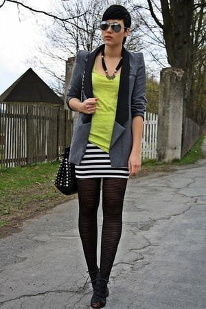 heather gray ohmyfrock blazer - black striped hm skirt - lime green top - black