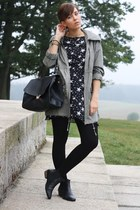 star printed dress - asos boots - parka Primark coat - OASAP bag