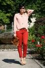 Brown-clutch-rock-kleidung-bag-ivory-cherry-wedges-zara-heels-red-zara-pants