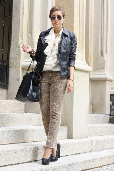 brown leo Pimkie pants - black leather Urban Code jacket - cream vintage blouse