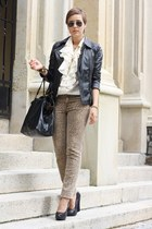 brown leo Pimkie pants - black leather Urban Code jacket - cream vintage blouse