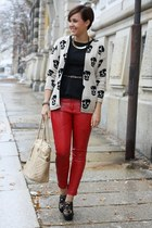 skull print AX Paris cardigan - peplum Primark shirt - Marc B bag - Aldo wedges