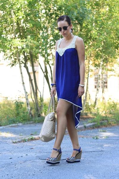 blue crochet Shilla dress - eggshell Marc B bag - navy Ravel wedges