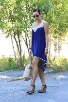 blue crochet Shilla dress - eggshell Marc B bag - navy Ravel wedges