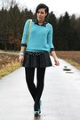 Sky-blue-sweater-light-yellow-new-yorker-bag-black-leather-primark-skirt
