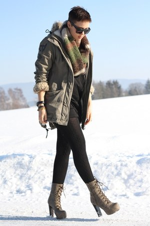 light brown Lundberg boots - black H&M dress - olive green bench jacket