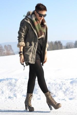 light brown Lundberg boots - black H&M dress - olive green bench jacket