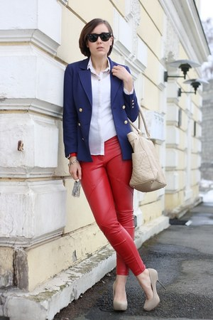 navy H&amp;M blazer - Marc B bag - Primark blouse - red leather 3 suisses pants