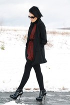 brick red Love dress - black Buffalo boots - black vintage coat