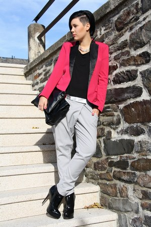 hot pink Have a Look blazer - black Buffalo boots - black Primark shirt