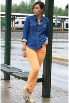 navy denim Chicwish shirt - light orange tchibo pants - gold Zara pants