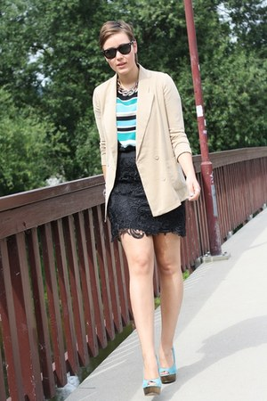 camel blazer - turquoise blue stripes Primark shirt - black lace skirt
