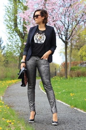 black H&M blazer - black sequined tiger Only top - silver QS by SOliver pants