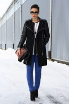 black coat - black Primark shoes - black romwe shirt - blue pants