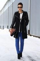 black coat - black Primark shoes - black romwe shirt - blue pants