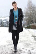 black Buffalo boots - black coat - sky blue sweater