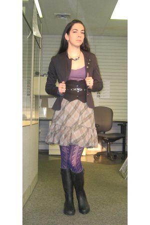 black jacket - black Rue 21 vest - purple Old Navy top - gray Old Navy skirt - p