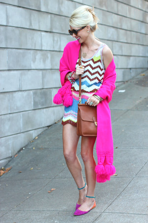 vintage scarf - Missoni dress - Karen Walker sunglasses - Zara flats