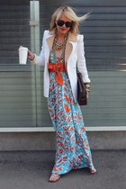 dvf dress - Theory jacket - Zara blazer - Louis Vuitton bag