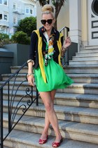 RL blouse - dvf jacket - Michael Kors flats - Halston Heritage skirt