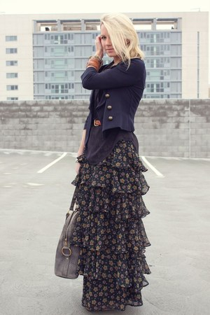 Topshop skirt - dvf jacket - YSL purse - FCUK blouse