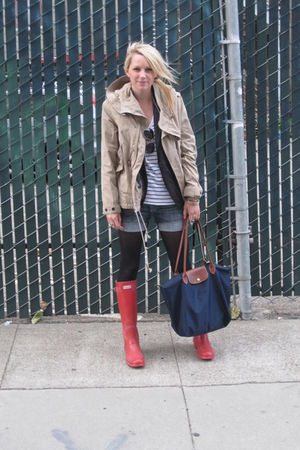 banana republic blazer - Hunter boots - Zara jacket - longchamp bag
