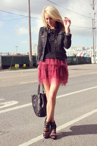 Zara jacket - loeffler randall shoes - Crew Cuts skirt