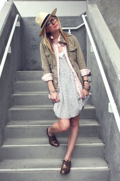 Gap jacket - Patterson J Kincaid dress - H&M hat - BR flats - Jcrew blouse