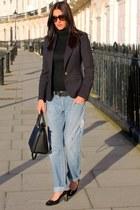 blue D&G jeans - dark gray Gucci shoes - navy Zara blazer