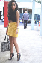 yellow embroidered Zara skirt - black crop top Zara top