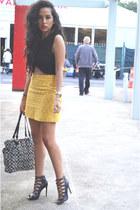 yellow embroidered Zara skirt - black crop top Zara top