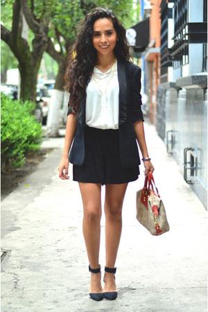 black Zara blazer - carrot orange coach bag - black culottes short asos shorts