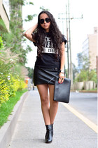 black ankle boots Zara boots - black faux leather PERSUNMALL bag