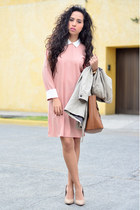 light pink collar Front Row Shop dress - beige trench coat Zara coat