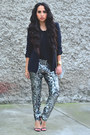 Turquoise-blue-sequin-isabel-marant-pants-black-zara-blazer