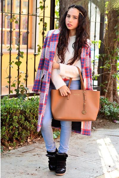 red plaid Zara coat - sky blue denim Bershka jeans - white jersey Zara sweater