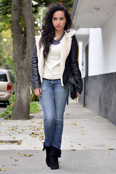 black faux leather Zara coat - black Westies boots - blue Pull & Bear jeans