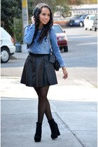 black faux leather Forever21 skirt - black gojane booties boots