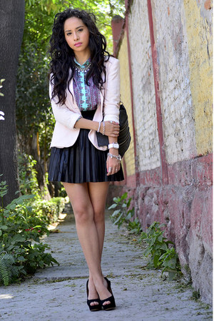light pink Zara blazer - black Forever21 skirt - aquamarine Zara blouse