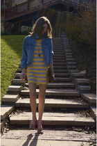 blue vintage jacket - gold C&C California dress - beige Marc Jacobs shoes - brow