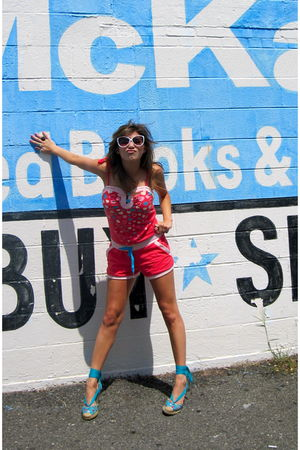orange Sound Girl shorts - blue Betseyville shoes - white Forever21 sunglasses