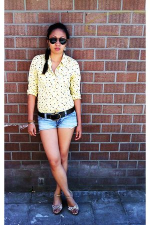 black sunglasses - yellow thrifted top - blue Forever 21 shorts - beige shoes -