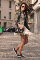 olive green Fashion Union jacket - navy Converse shoes - ivory asos skirt