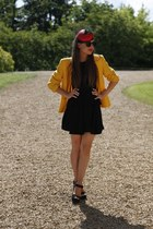 mustard blazer - black dress