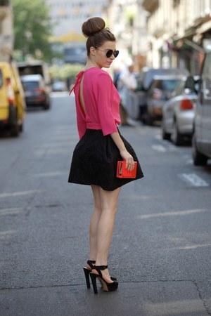 hot pink GEEKS & STITCHES dress - black Zara heels
