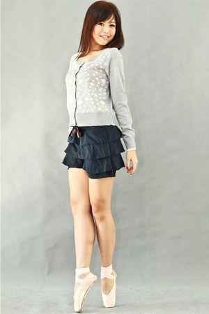 gray sweater - navy layered shorts