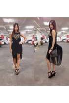 black studded sling bag bag - black chiffon Assymetrical Skirt skirt